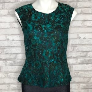 Ann Taylor lace sleeveless top, turquoise, small